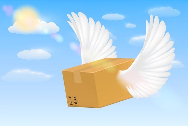 Entrega caixa de papelão ondulado com asa de pássaro voador