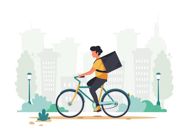Entrega conceito de serviço de entrega expresso andando de bicicleta