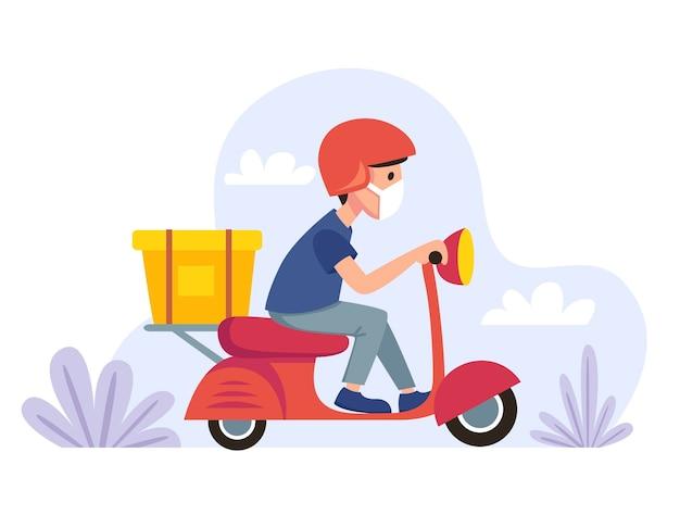 Entrega. correio mascarado em uma bicicleta