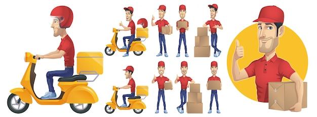 Entrega courier man conjunto de caracteres