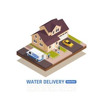 Entrega de água isométrica com vista externa de uma casa particular
