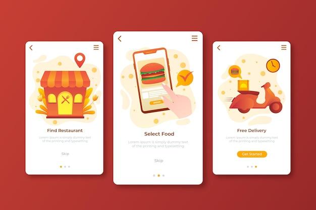 Entrega de alimentos - conceito de telas integradas