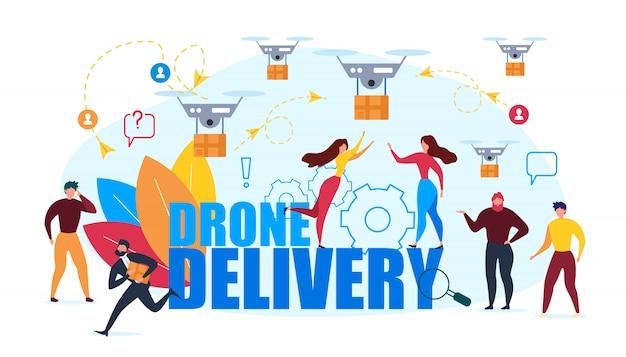Entrega de ar drone. pessoas dos desenhos animados recebem caixa de papelão