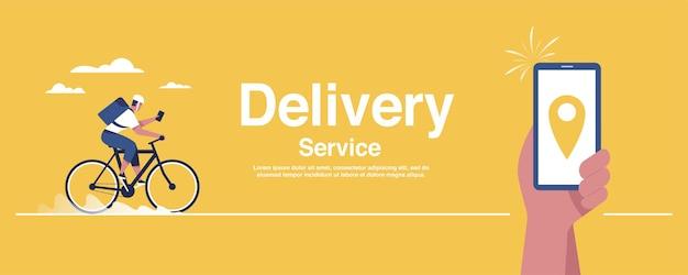 Entrega de bicicletas e conceito de serviço de entrega.