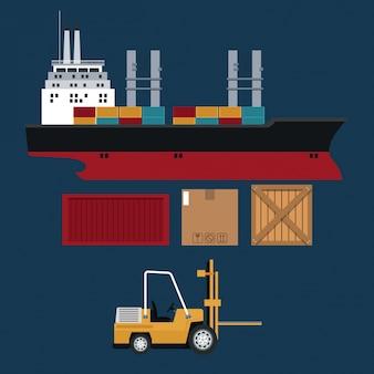 Entrega de caixas de contentores para navios e empilhadeiras