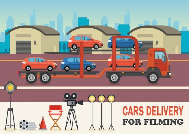 Entrega de carros para filmagem. ilustração vetorial.