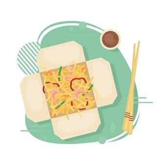 Entrega de comida chinesa em caixinhas em sua casa. comida asiática em caixas. macarrão frito com camarão e legumes. ilustração leiga.