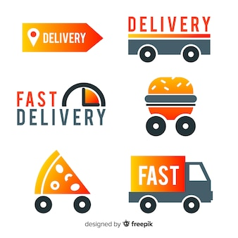 Entrega de comida coleção de modelo de logotipo