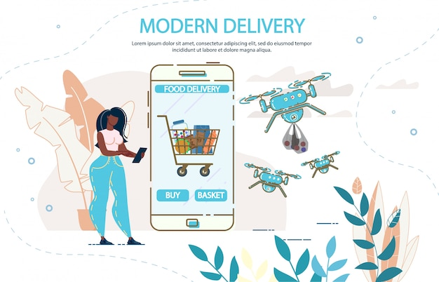 Entrega de comida de drone moderna e aplicação móvel