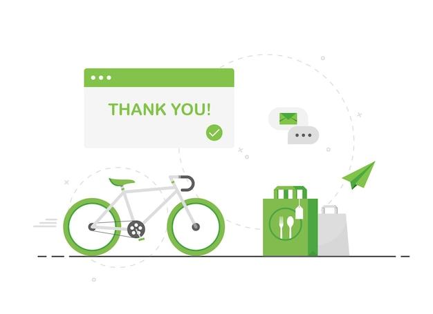 Entrega de comida ecológica em bicicleta verde