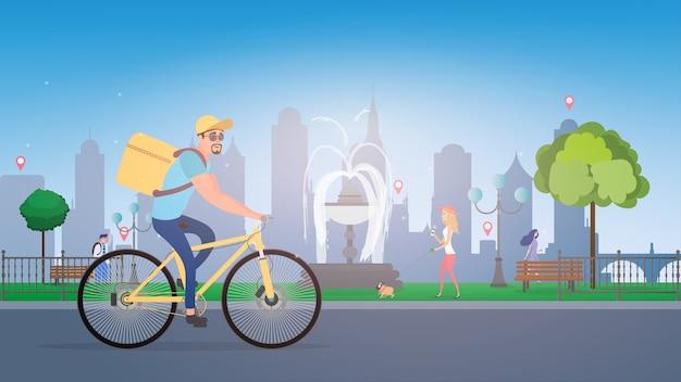 Entrega de comida em bicicleta. um ciclista com uma caixa nas costas. conceito de entrega de comida ecológica.