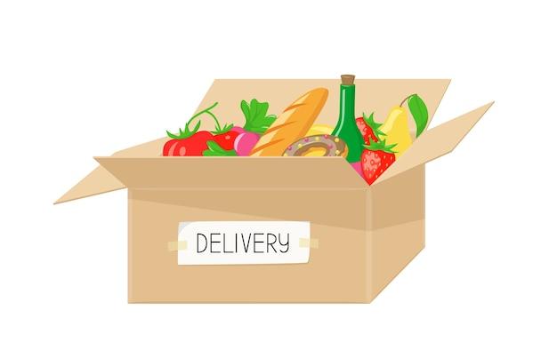 Entrega de comida em caixa de papelão de mercearia ou supermercado