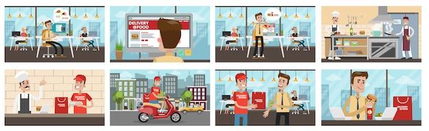 Entrega de comida para escritório conjunto. empresário encomendar comida, preparação do chef e entrega de correio.