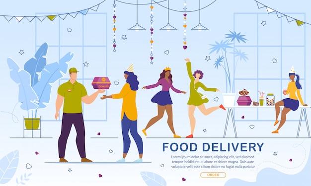 Entrega de comida para meninas serviço on-line de festas de despedida
