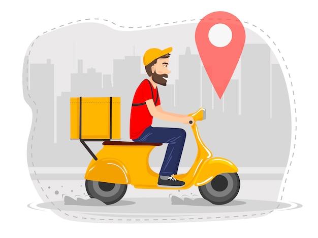 Entrega de comida pelo entregador em um ciclomotor amarelo com comida pronta.