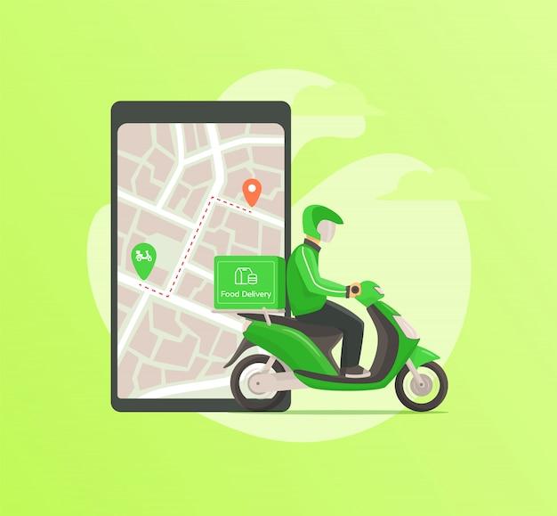 Entrega de comida por correio dirigindo moto para o endereço de destino