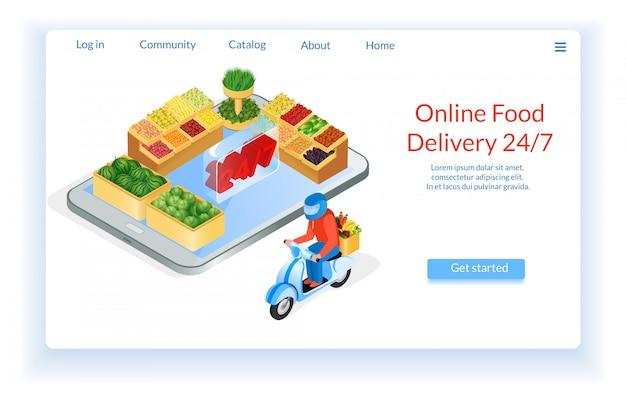 Entrega de comida por supermercado de motocicleta on-line.