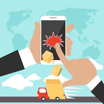 Entrega de compras pela internet. homem segurando um smartphone e ordens de entrega on-line