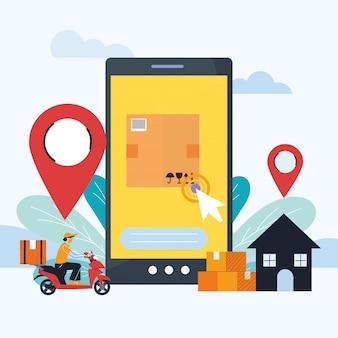 Entrega de correio com localização na tela