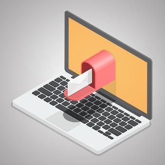 Entrega de correio do computador portátil