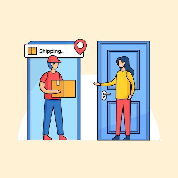 Entrega de correio transportando a caixa de pedidos para a casa do cliente ilustração de serviço de remessa profissional