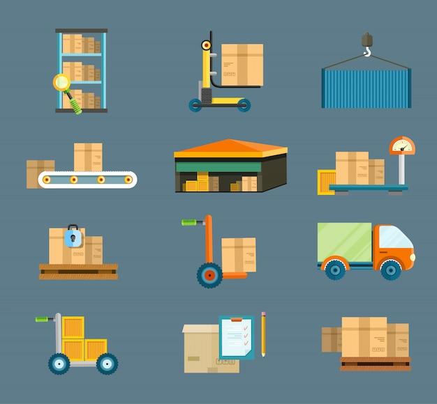 Entrega de distribuição de armazém em diferentes locais. a técnica funciona com pacotes de caixas. envio de entrega