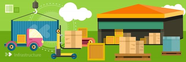 Entrega de distribuição de armazém em locais diferentes