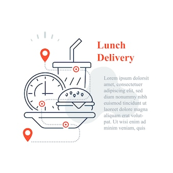 Entrega de fast food em casa, comer em casa, pedir refeição, ícone de linha