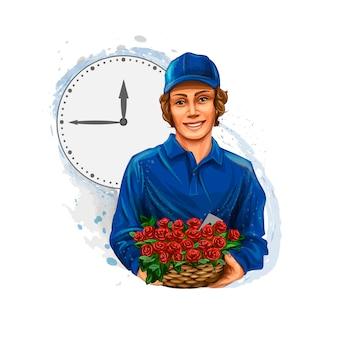 Entrega de flores, mensageiro menino, vendedor de flores. ilustração vetorial realista de tintas