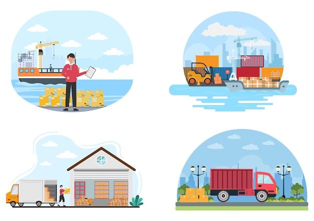 Entrega de logística de contêineres de transporte de cargas com o conceito de entrega de mercadorias por navio guindaste, caminhão ou transporte aéreo. ilustração em vetor de fundo