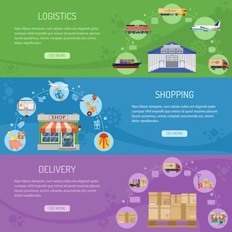Entrega de logística e banners de compras