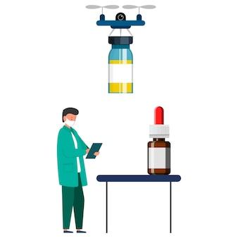 Entrega de medicamentos ao médico. ilustração vetorial