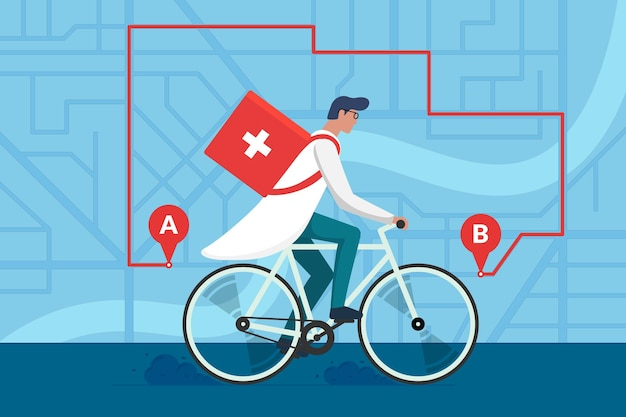Entrega de medicamentos em farmácia. médico homem andando de bicicleta com primeiros socorros de caixa sanitária médico-cirúrgica no plano de mapa de ruas da cidade e rota de navegação. farmacêutico terapeuta na ilustração plana do vetor do ciclo