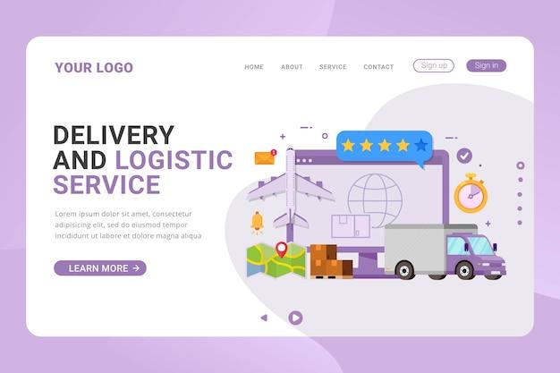 Entrega de modelo de página de destino e conceito de design global de serviço logístico