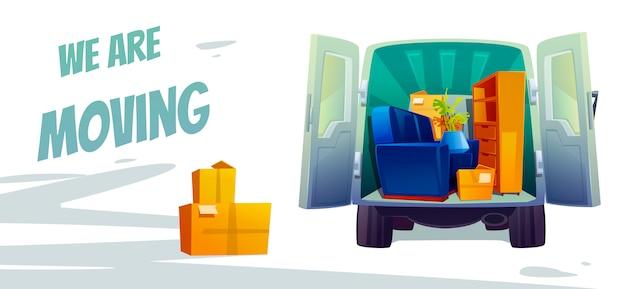 Entrega de móveis, cartaz de serviço de casa em movimento