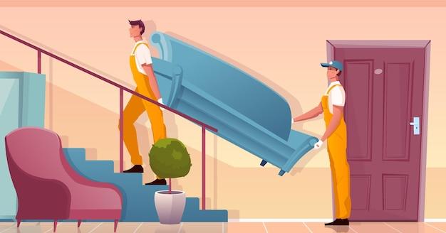 Entrega de móveis com dois carregadores carregando sofá azul no andar de cima