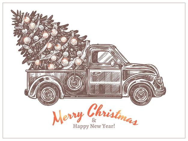 Entrega de natal festivo decorado abeto na caminhonete retrô. cartão de férias com carros antigos no estilo de desenho de gravura. ilustração gravada desenhada à mão de feliz ano novo