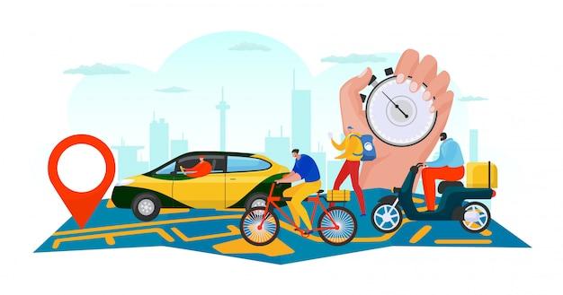 Entrega de negócios no mapa, envio de pedidos on-line por ilustração do conceito de transporte. aplicativo de serviço de comércio, caixa de rastreamento de homem. van caminhão na bandeira de fundo, caráter de pessoas logístico.