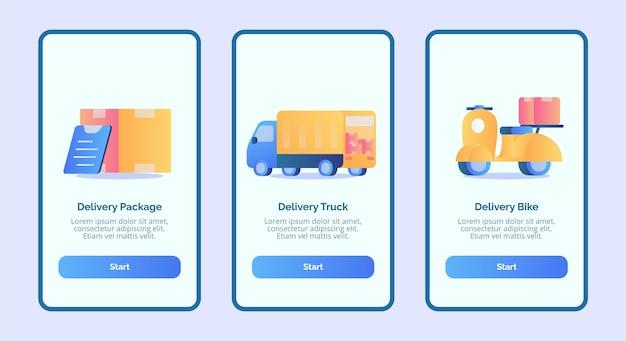 Entrega de pacote de entrega de caminhão de entrega de bicicleta para aplicativos móveis