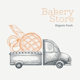 Entrega de padaria. caminhão desenhado de mão com ilustração de pão. projeto de comida vintage estilo gravado.