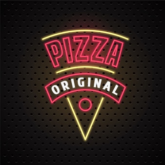 Entrega de pizza com letreiro de néon