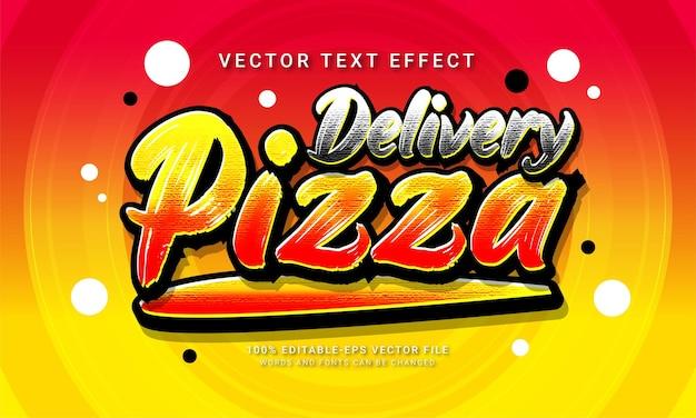 Entrega de pizza em estilo de texto editável com efeito de menu de comida de restaurante com tema