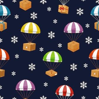 Entrega de presentes no céu de inverno com flocos de neve. presentes parachute.