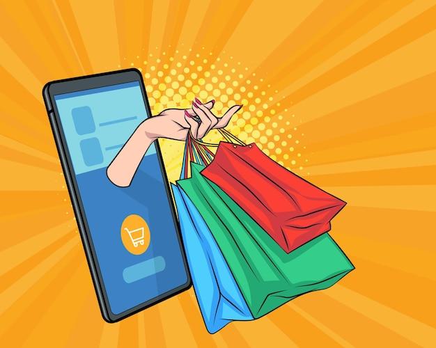 Entrega de sacola de compras do conceito de compras para celular pop art comic style