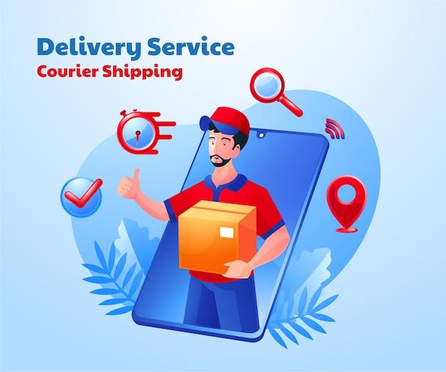 Entrega de serviço de remessa postal com um smartphone móvel