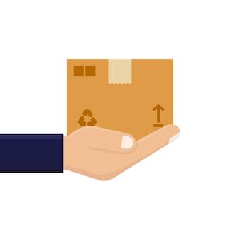 Entrega, design plano de embalagem de papelão de mão