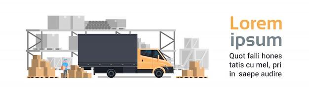 Entrega do armazém, carro do caminhão sobre o edifício dos recipientes. modelo de banner horizontal de conceito de transporte e transporte