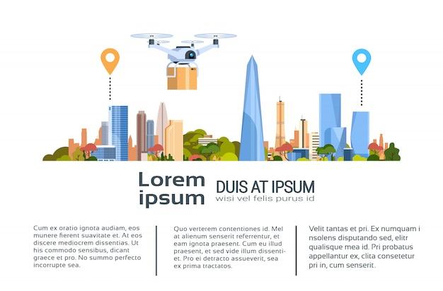 Entrega drone com pacote sobre a cidade. banner de modelo de conceito de transporte aéreo rápido