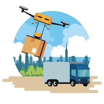 Entrega drone e veículo na cidade