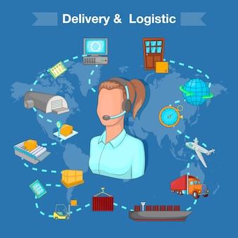 Entrega e conceito logístico, estilo cartoon